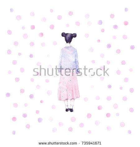 Cute girl - illustration.  @knyshksenya  #illustration #illustrator #ksenyaknysh #watercolor #girl #flowers #nature #illustration #art #mothersday #valentine #woman #drawing