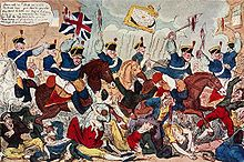 This cartoon depicts the Peterloo Massacre in Manchester in 1819.