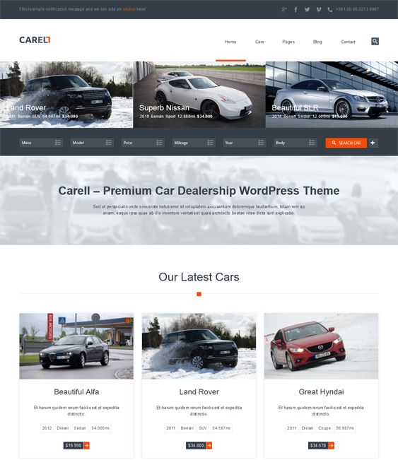 This WordPress theme for car dealerships includes a responsive design, Visual Composer, 2 featured image sliders, unlimited colors, a loan calculator, 5 navigation styles, lots of custom widgets, and more.