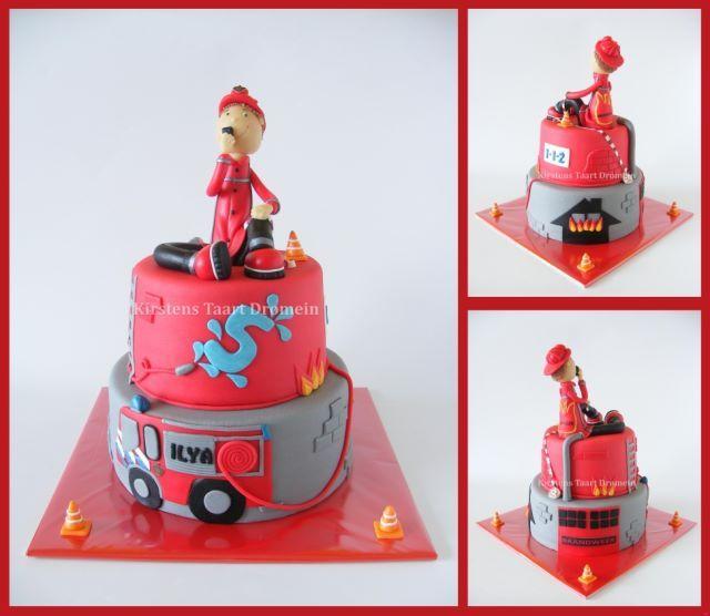 Fireman & Firebrigade Cake / Brandweer taart - made by http://www.facebook.com/KirstensTaartDromein