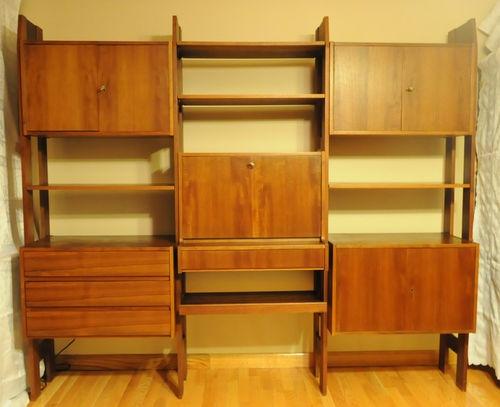 Vtg Mid Century Modern Wall Unit Room Divider Teak Wood