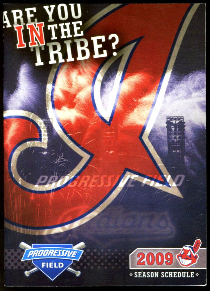 2009 CLEVELAND INDIANS PROGRESSIVE BASEBALL SCHEDULE EX+NM FREE SHIPPING #PocketSchedules