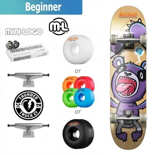 SkateXS Purple Panda Beginner Complete Skateboard for Kids