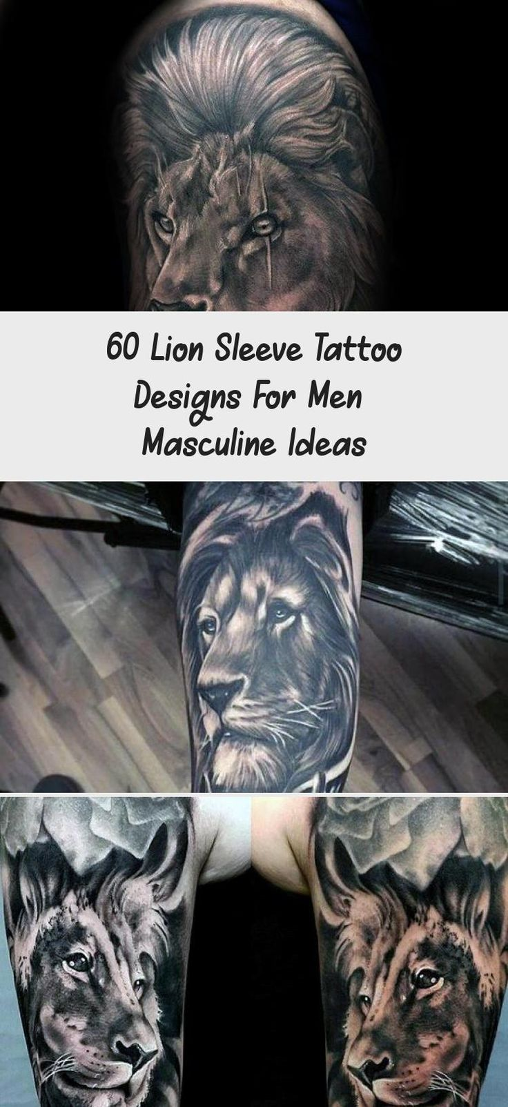 Leg Sleeve Lion Tattoo Designs For Guys liontattooFoot