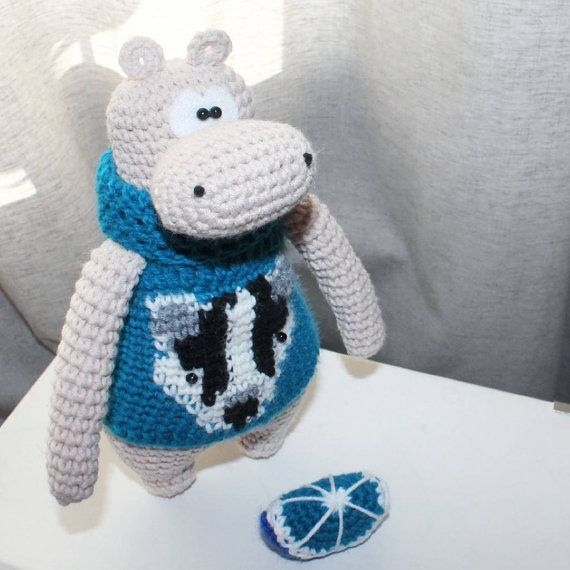 Hippo stuffed toy doll  knitted Hippo crochet Hippo от PrettyBalls
