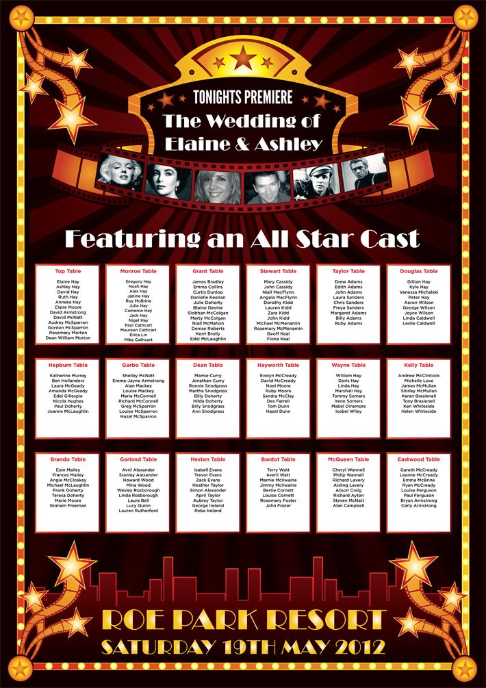 cinema movies theme wedding table plan