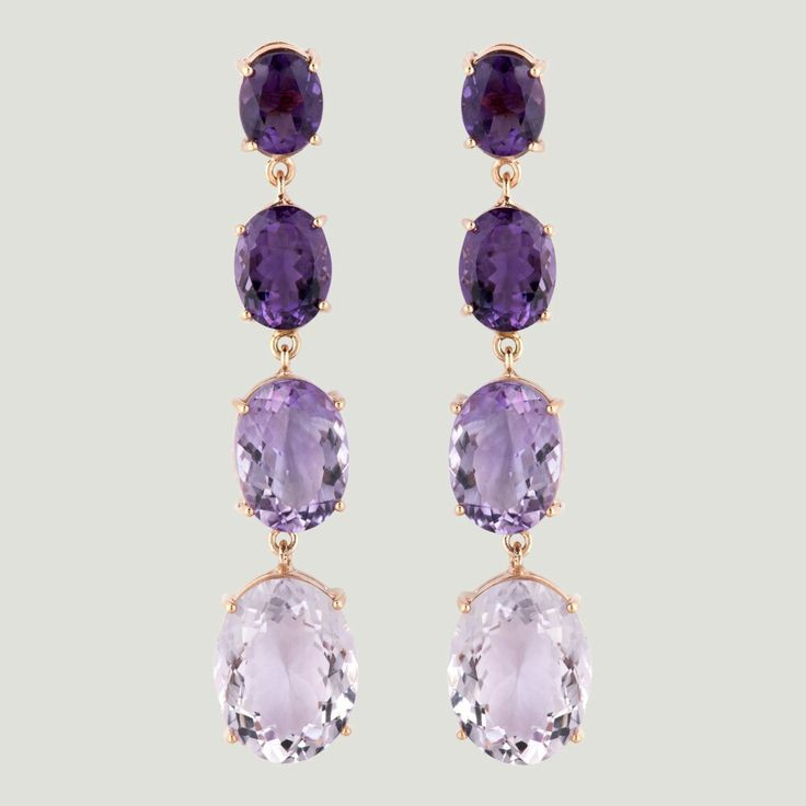Butler & Wilson - FOUR AMETHYST STONES LONG DROP EARRINGS ☆ £498,00 ☆