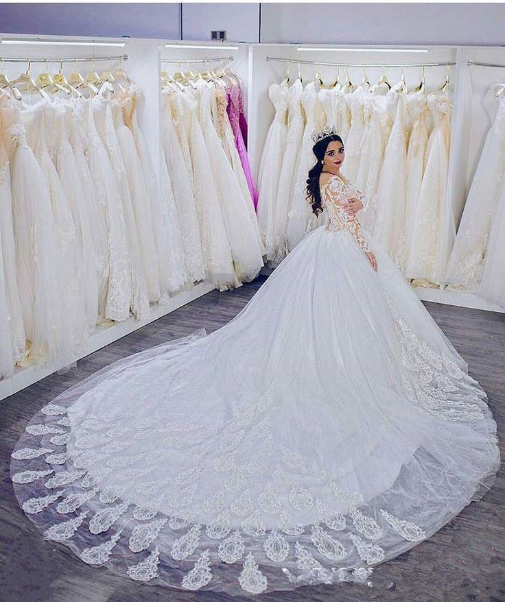 Perfect Cool Awesome Arabic Wedding Dresses Long Sleeve V Neck Cathedral Train Bridal Ball Gowns