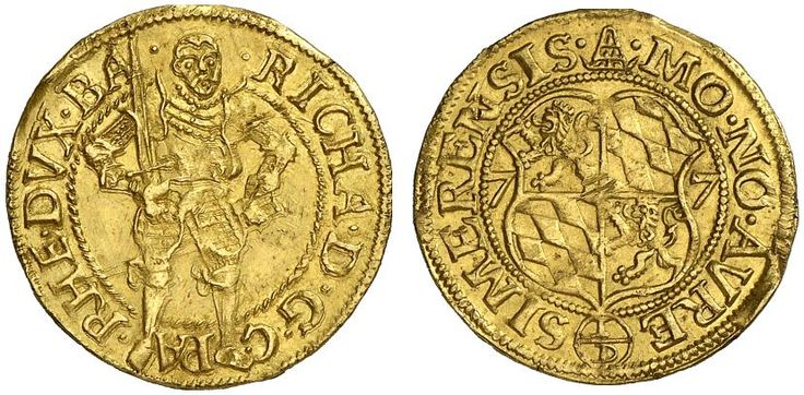 AV Ducat. Germany Coins, Palatinate-Simmern, Richard 1569-1598. 15(77). 3,49g. F 2051. Good VF. Price realized 2011: 900 USD.
