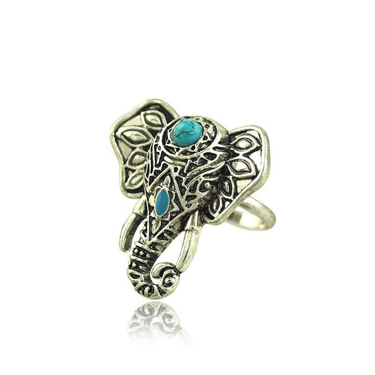 Tibetan Silver Plated Elephant Ring