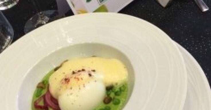 Oeufs mollets, purée de petit pois, sabayon au Riesling par stephaneroy de l'agence de Poitiers, recette qualifiée pour la demi-finale Thermostars