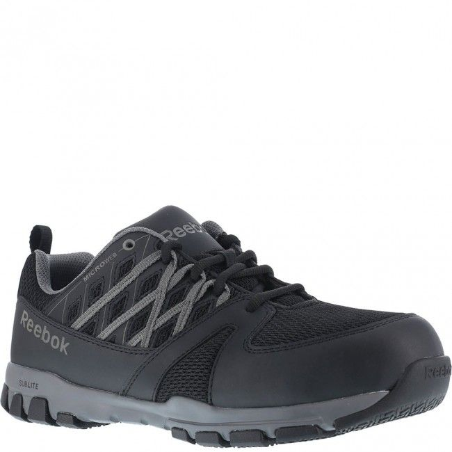 Reebok Work Sublite Work is a steel-toe athletic lace-up with static  dissipating dual-resistor protection, slip-resistant outsole, and FootFuel  footbed.
