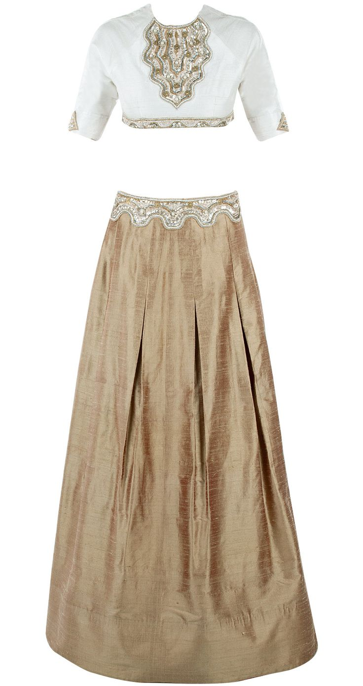 Ivory embellished blouse with gold skirt by PERNIA QURESHI. Shop now at perniaspopupshop.com