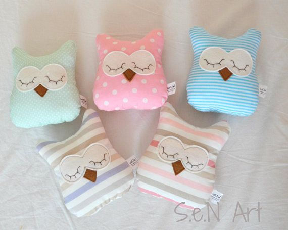 Small Owl Pillow Handmade Owl Soft Toy Nursery Decor