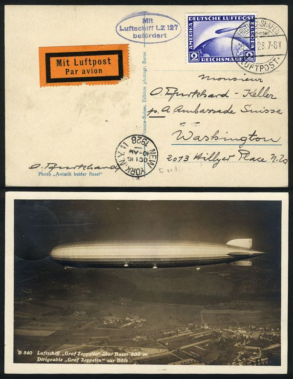 German Empire (1923/32 Weimar Republic), Card with view of the Zeppelin flying over Basel, sent from Friedrichshafen to Washington on 10/OC/1928 franked with 2Mk. (Sc.C36), excellent quality! Estimate (11/2016): 75 USD.