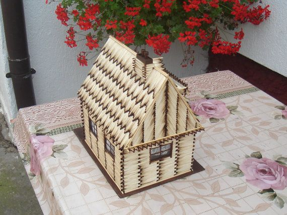 Now reduced price! :)  One of a kind item, decorative wood house made from matches, sticks, and so. Item made with love and precision, first and only so far :)  -----  Wood... ➡️ http://jto.li/zbfmv