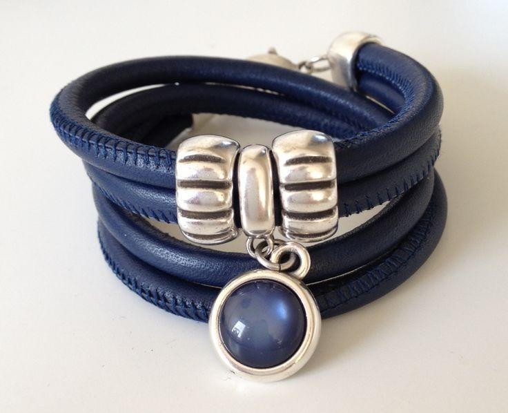 Leren wikkelarmband Blauw