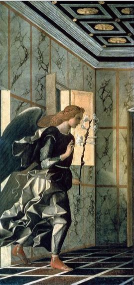 Giovanni Bellini, The Annunciation, 1500, detail, Venice, Accademia