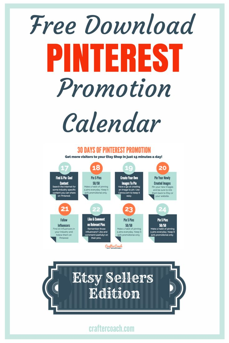 Don't get stuck - 30 Day Pinterest Promotion Calendar for Etsy Sellers - it's Free! http://craftercoach.com/pinterestcalendar