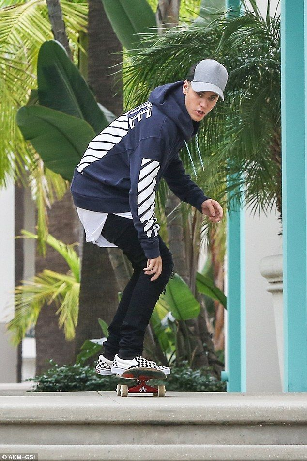 Sk8r boi: Justin Bieber was spotted showing off his skate skills in Beverly Hills on Friday