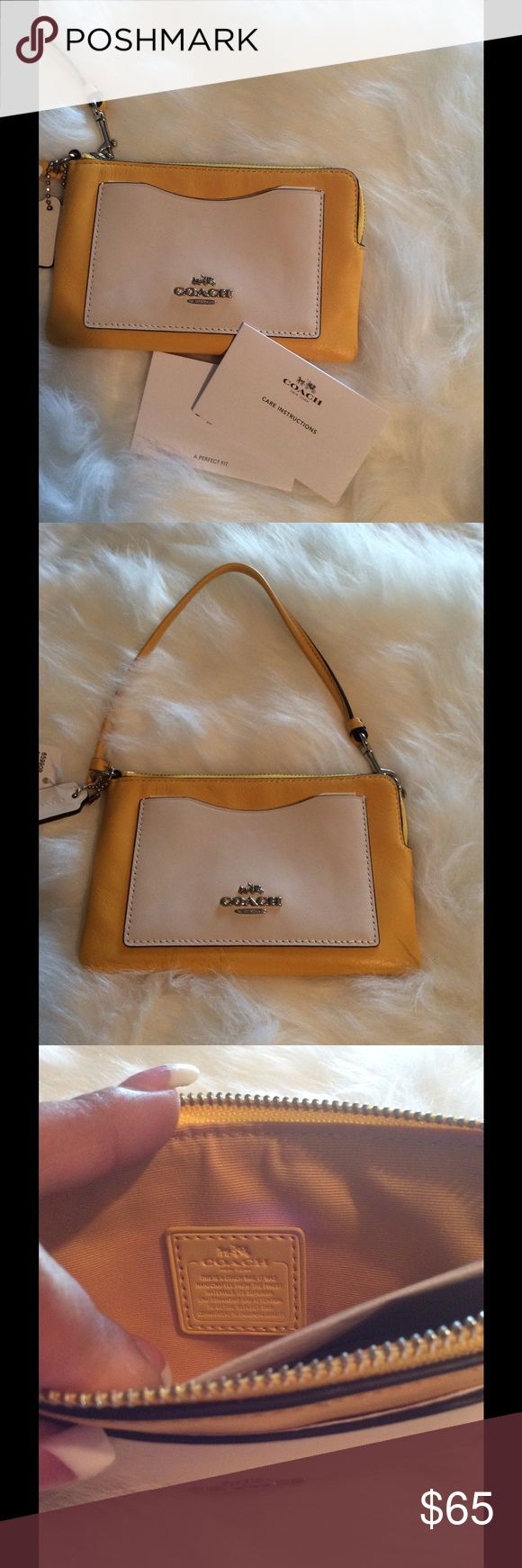 Coach Authentic leather Wristlet. Authentic leather Coach New York Wristlet. Registered trademark with tags. Beautiful Canary/ Chalk bone color. Absolutely gorgeous!  6 1/2 X 4 inches Coach Bags Clutches & Wristlets