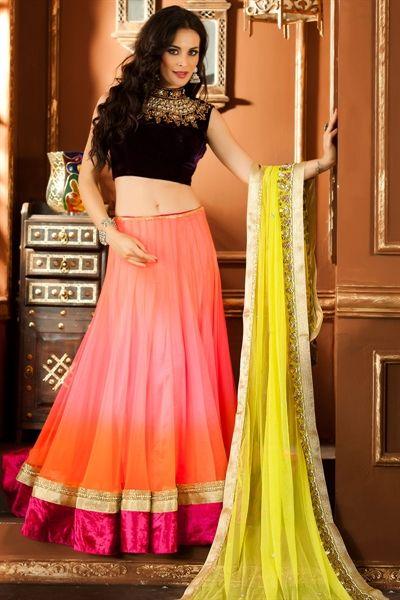 Bollywood style multicolor lehenga choli