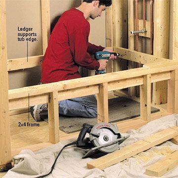 tub framing ideas | Installing a Whirlpool Tub - How to Install a New Bathroom - DIY ...