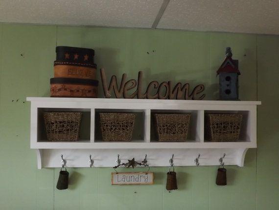 "Wood Cubby Wall Shelf with 4 Cubby Holes 48"" wide Wall Shelf Coat Rack Storage Shelf Organizer"