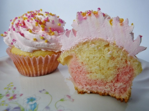 Pink and White Birthday Cupcakes with Whip 'N Ice Frosting