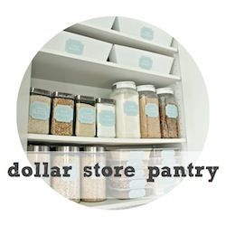 Dollar store pantry organization. She even has a link for the pretty labels on this blog. Awesome.