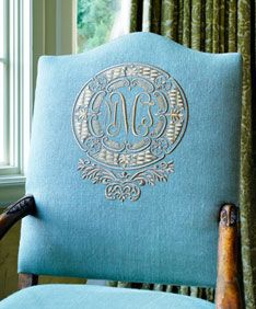 Turquoise - Beautiful Chair, Monogram - - by Joan Cecil  Need to look for monogramed linens to use for upholstery!  Yum!