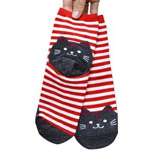 Chaussettes Femme, Koly 3D Animaux Rayures Cartoon Chaussettes Femmes Cat Footprints Chaussettes En Coton Sol (Rouge): Tweet…
