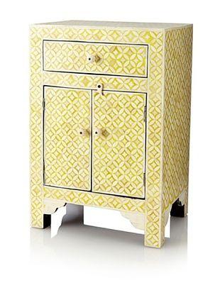 -58,800% OFF Mili Designs 1 Drawer 2 Doors Geo Design Bone Inlay Bedside, Mustard/Cream