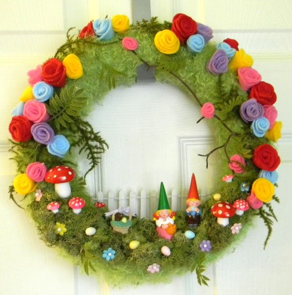 """50% OFF SALE Spring! Vintage Gnomes Only One. OOAK """"Gnome Sweet Gnome """": 12 inch Felt, Moss, and Yarn Wreath"""