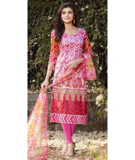 Teriffic Pink And Multi-Color Cotton Straight Suit.
