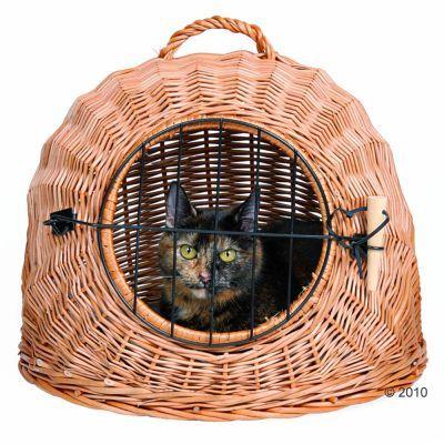 Panier de transport, osier naturel pour chat et petit chien
