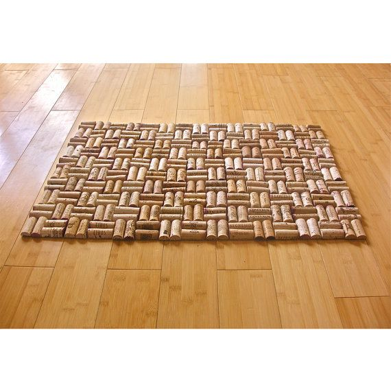 upcycled wine cork bath mat with weave pattern fun