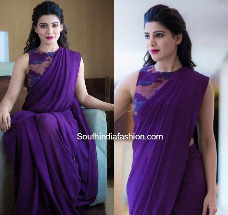 samantha prabhu purple plain saree 600x565 photo