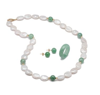 14K Yellow Gold Jade & Pearl NHR SHOPPING CHANNEL.COM                                      klace, Earrings & Ring Set  $289.99 REDUCED TO $148.33 AT TH