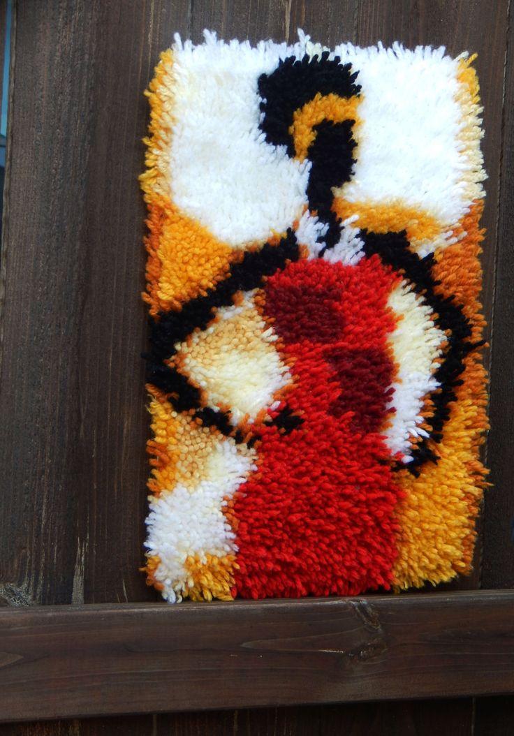 African Lady Latchhook rug African American art black
