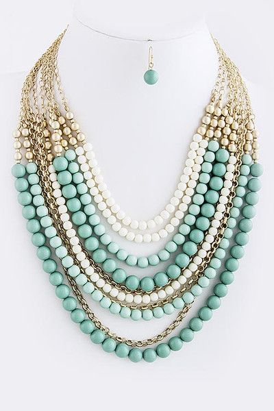 Christina Layered Bead Statement Necklace Beautiful layers of greens to accent every wardrobe. www.TheShoppingBagStore.com #mintgreen, #preppy, #layers, #necklaces, #fall, #jewelry, #accessories