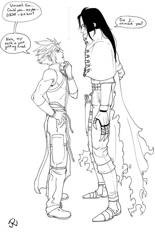 Cloud Strife and Vincent Valentine. Fan art height comparison. Final Fantasy VII.