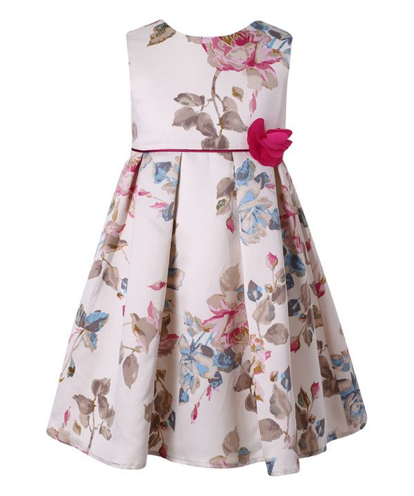 Look at this Beige Floral A-Line Dress - Toddler & Girls on #zulily today!