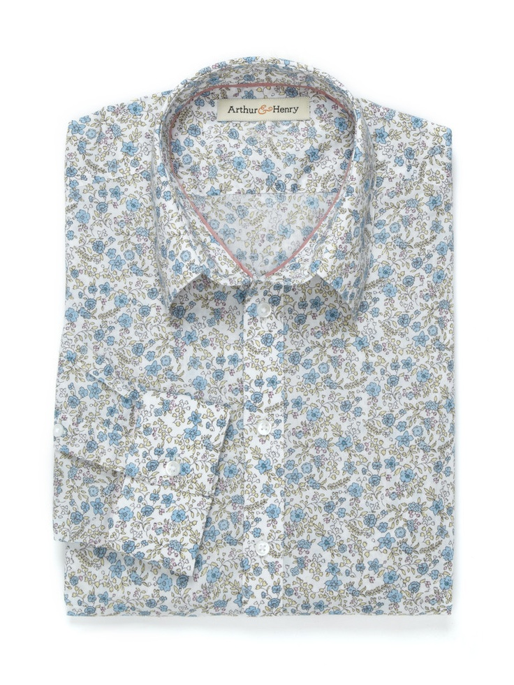 #organic ethical blue floral mens shirt by Arthur and Henry #ethical #men #clothing #ecofriendy
