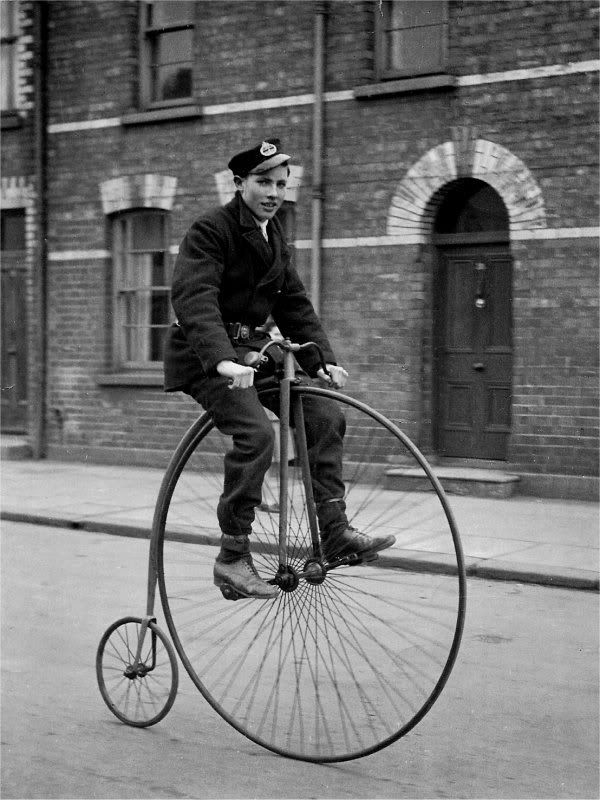 Here are a couple little articles on the penny farthing bicycle. http://pennyfarthingtours.com.au/