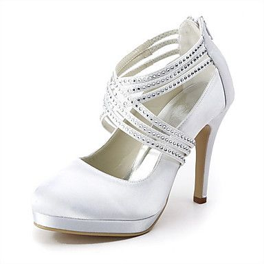 Satin Stiletto Heel Pumps With Rhinestone Wedding Shoes (More Colors Available) – GBP £ 33.10