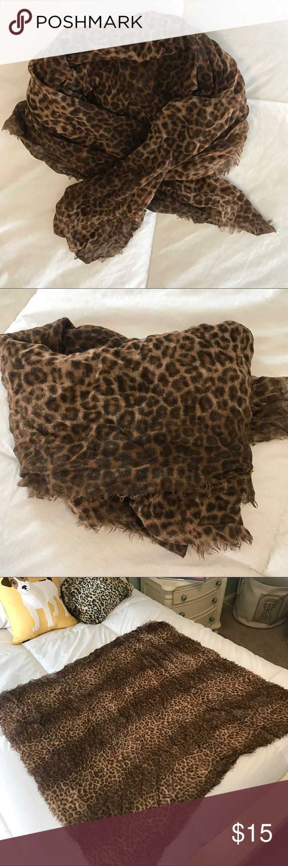 Lucky Brand Cheetah Scarf Large square Lucky Brand linen-blend scarf. 'Unfinished' edges. Tags have been removed. I didn't see any holes, rips, or pulls. Open to offers. Lucky Brand Accessories Scarves & Wraps