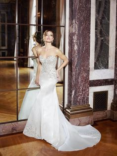 MOONLIGHT Couture Style H1295, SPRING 2016, strapless beaded wedding dress, satin bridal gown with beaded train, sweetheart neckline, regal wedding, couture designer wedding gown