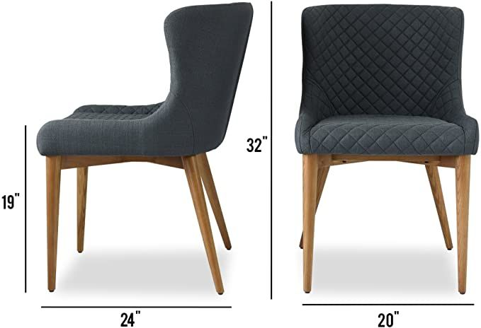 Amazon Com Dining Room Chairs Set Of 2 Modern Dining Chairs Upholstered Charcoal Grey Fabric Solid Upholstered Dining Chairs Modern Dining Chairs Chair