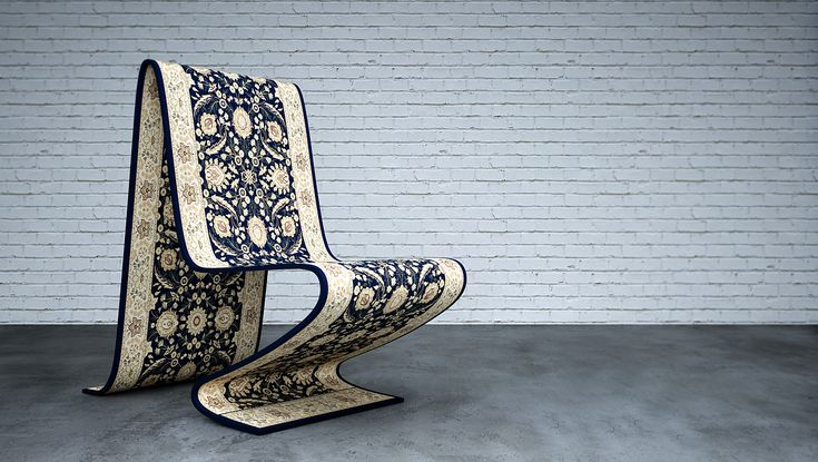 The Carpet Chair comes in a fine selection of Persian Carpets and styles. Every carpet it is handmade and takes four months to produce. This chair gives the illusion of a magic carpet floating in the air.